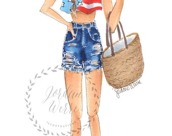 All American Girl fashion illustration 8x10 (print)