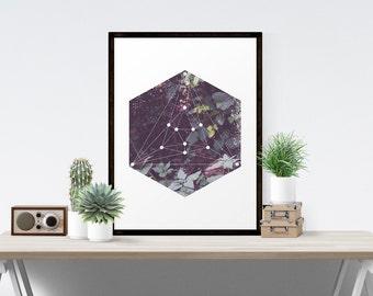 Minimalist Geometric Art Hexagon Landscape Natural Sacred Geometry Fine Art Printable Geometric Art Printable