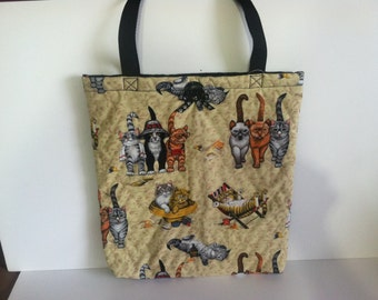 Quilted Cats Print Tote