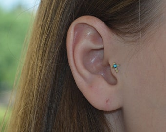 2mm Turquoise Tragus Stud Earring 16g, Gold Cross nose stud, Tragus piersing, Cartilage earring, Helix stud, Cartilage stud, Nose ring