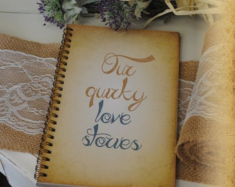Journal Romance Love - Our Quirky Love Stories , Custom Personalized Journals Vintage Style Book