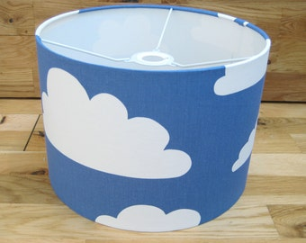 Handmade Drum Lampshade in Blue Clouds Swedish Scandinavian Fabric