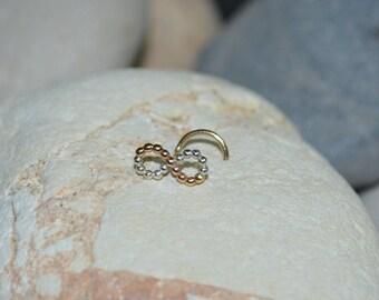 Sterling Silver / 14k Gold Filled infinity NOSE STUD / RING // Ear / Cartilage / Helix / Tragus piercing. 20 gauge 20g