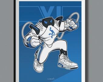 """Beasts in Sneaks - Air Jordan 6 VI """"Sport Blue"""" inspired art print. Sneaker Art"""