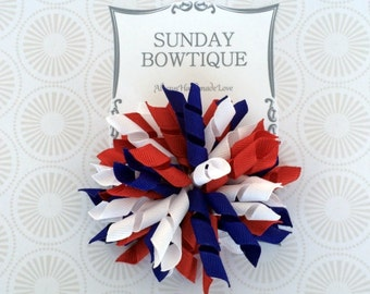 4th of July Hair Bow, Korker Hair Bow, Large Korker, Red White Blue Bow, Red Korker, Blue Korker, White Korker, Patriotic Hair Bow
