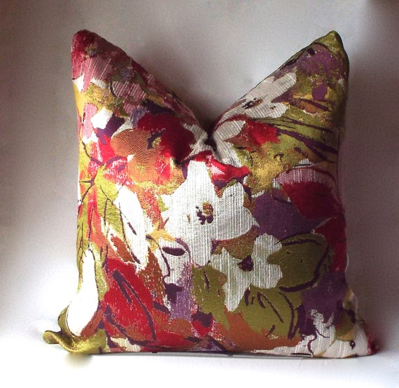 Decorative Throw Pillow Floral Purple Pillow Covers Red
