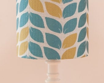 Teal and Olive Leaf 20cm Drum Lampshade
