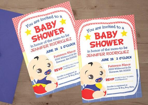 custom superman superhero baby shower invitation digital download