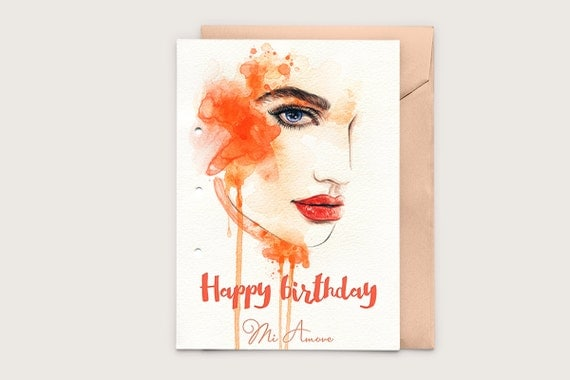 Printable birthday card watercolour girl lady painted – Digital Birthday Card