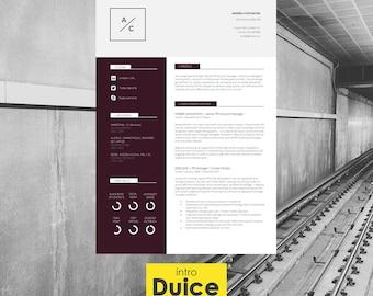 "Resume Template   CV Template + Cover Letter + Application Advice   MS Word   Resume Design / CV Design - Instant Download   ""Westminster"""