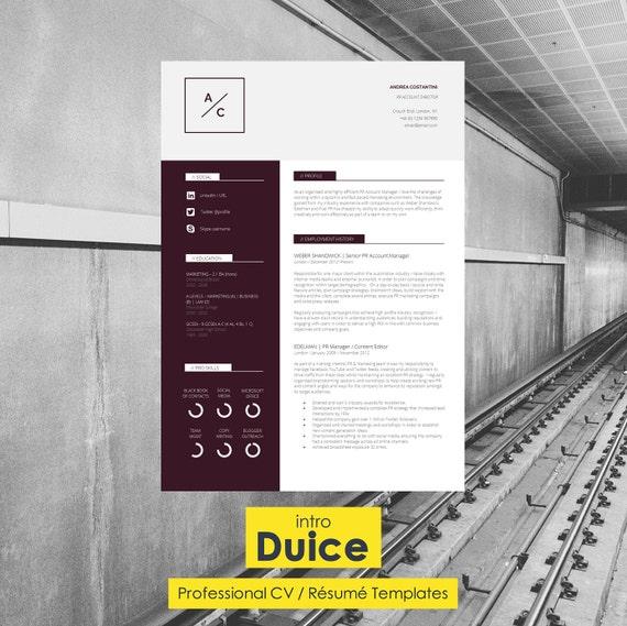 "Resume Template | CV Template + Cover Letter + Application Advice | MS Word | Resume Design / CV Design - Instant Download | ""Westminster"""