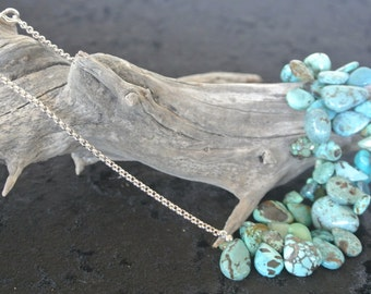 Teardrop Turquoise & Sterling Silver chain Necklace