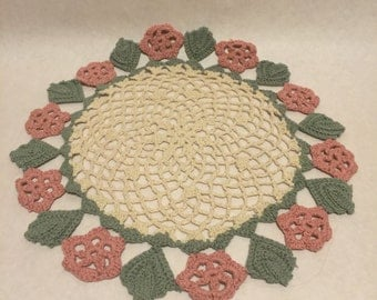 Vintage Crocheted Doily Cotton Cream Light Green and Mauve