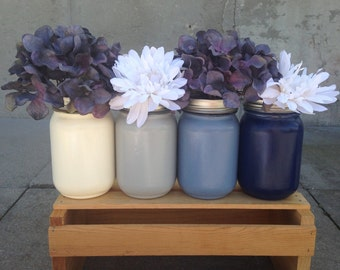 Painted Mason Jar Vases / Select Your Colors From - Cream, Grey, Navy, Blue - Wedding Centerpiece / Rustic, Country, Mason Jar Decor
