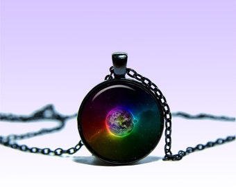 Earth Full-Color Pendant  Planet NECKLACE Black Red Jewelery Charm Pendant for Him or Her