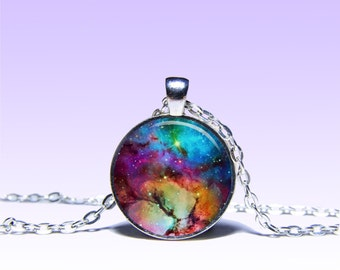 Charm Trifid Nebula Pendant Space Pendant macrocosm NECKLACE Black Jewelery Charm Pendant for Him or Her