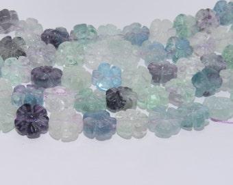 Fluorite 12x7 mm, Flower, Natural - FL-FLO-12X7