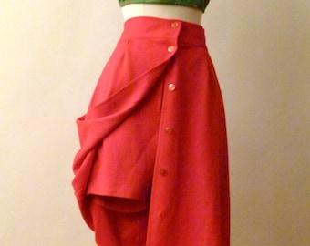 70s Yacht Club In Crimson - High waisted Long skort- Long Skirt with Short Shorts
