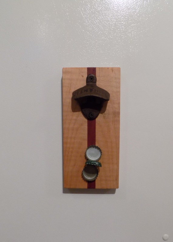 Magnetic Bottle Opener With Bottle Cap By Holdbrookswoodworks
