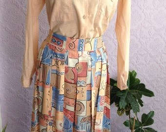 Southwestern Style: Pre-Columbian Motifs Pleated Skirt from the 1980s by St Michael