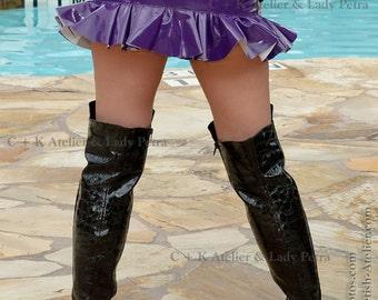 C + K skirt, PVC skirt, miniskirt, very shiny, high gloss, PVC, ruffled, ruffles, handmade, new
