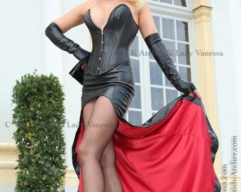 C + K Leather skirt, Satin lining, shiny, short, long skirt, elegance, new, handmade