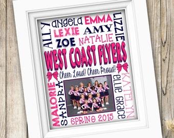 Cheer Coach Team Gift ~ Personalized Custom Printable Team Photo Subway Art ~ Digital File ~ Cheer Poster Cheerleading Squad Cheerleader Gym