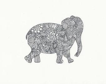 Zentangle Elephant Colouring Page