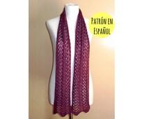 PATRÓN de bufanda tejida tipo lace - Patrón de bufanda pavo real - Patrón bufanda tejida - Descarga inmediata