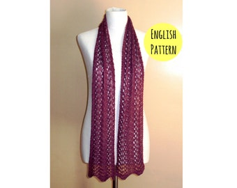 Lace scarf KNITTING PATTERN - Lace fan scarf pattern - Lace knit scarf pattern - Beginner lace knitting pattern - Instant download