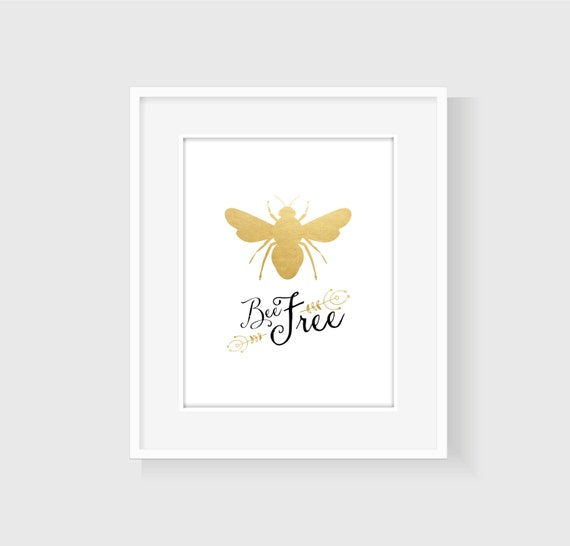 Bee Home Decor: Bee Free Bumble Bee Wall Art In Gold By StarsAndPeaches On