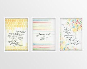 Jannah Series: 3 x A5 Watercolour Islamic Wall Art Prints with Islamic quotes
