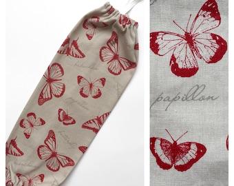 XL Plastic Bag Holder/ Grocery Bag Holder/ Bag Dispenser - Red Butterflies