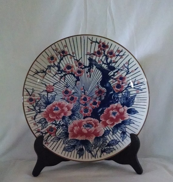 Vintage Made in Japan Charger Plate Cherry Blossoms design, Vintage Platter, Collectible Plate