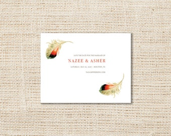 Feathers Save the Date Announcement, Personalized DIY Printable OR Printed with Matching Envelopes