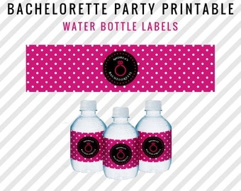 Bachelorette Party Water Labels - Pink and Black Polka Dot Customized Water Bottle Labels