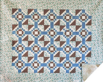 Beautiful Blue/Brown Quilt