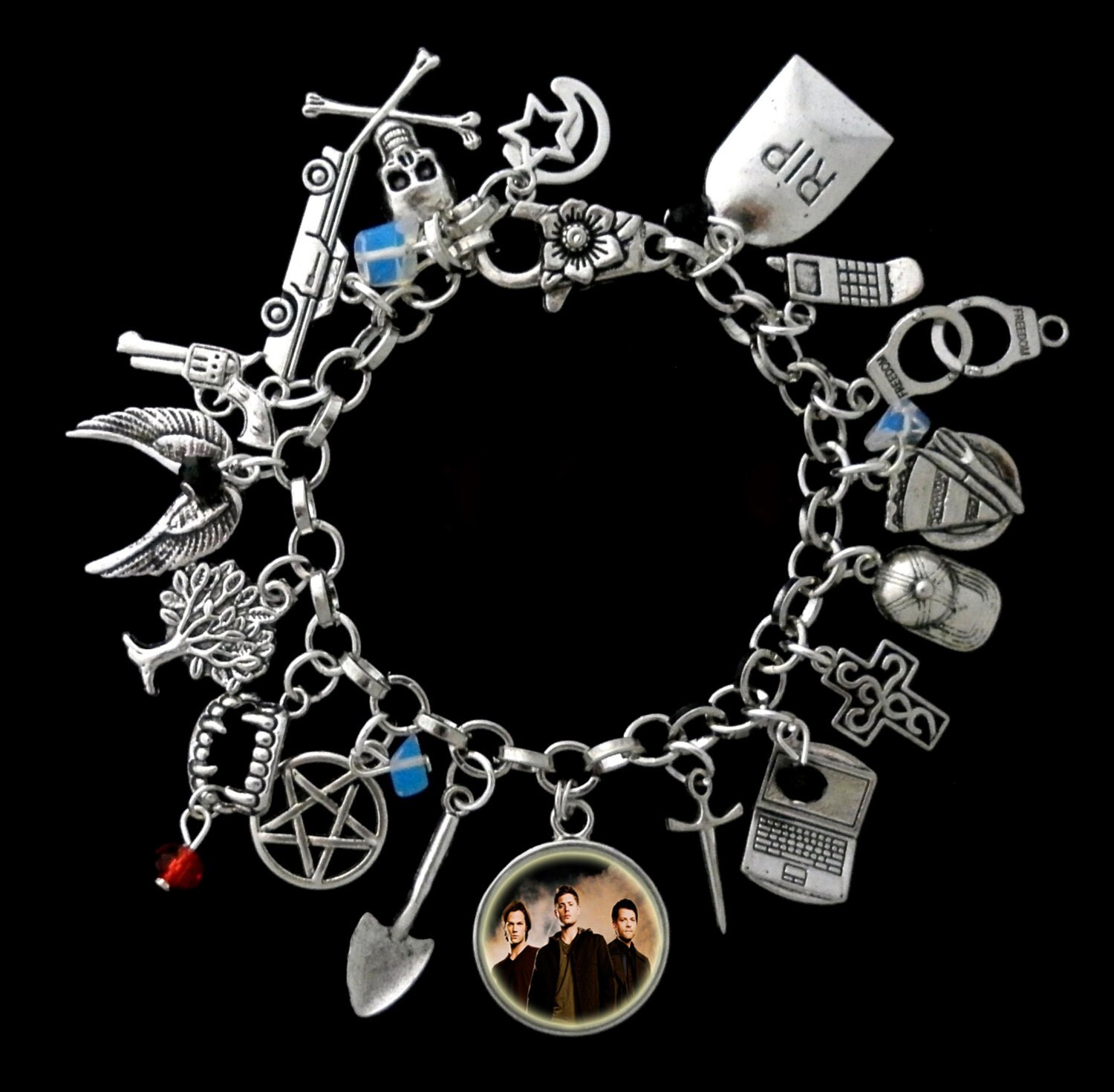 supernatural themed charm bracelet sam by redroseuniquedesigns