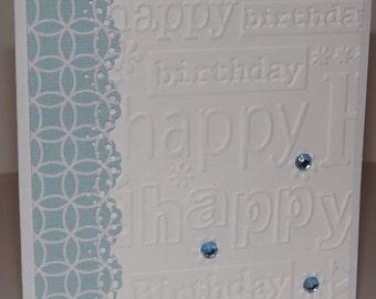 Happy Birthday Blue Handmade Card Layers Gemstones Embossed