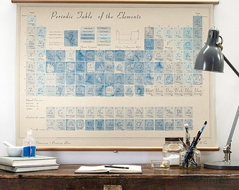 Periodic Table of the Elements in Prussian Blue wall hanging