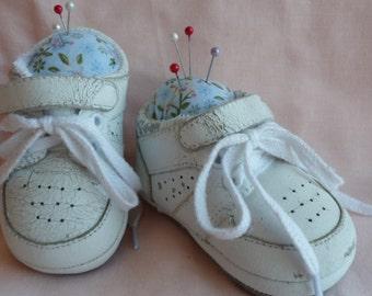 Repurposed baby sneakers pincushion