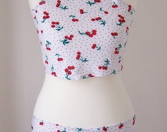 Bathing Suit Coverups with print of cherries and points / Crop Top and Mini Skirt !!