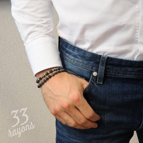 KAMBABA JASPER mens bracelet, Mens Silver bracelet, Mens jewelry