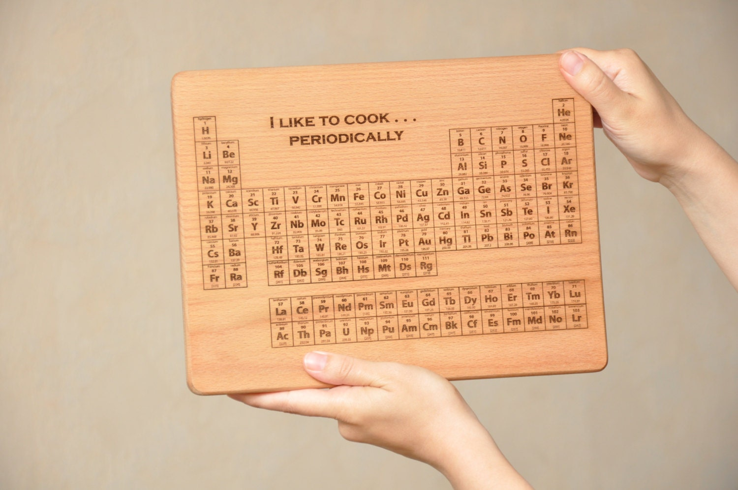 Personalized periodic table of elements cutting board wood - Periodic table chopping board ...