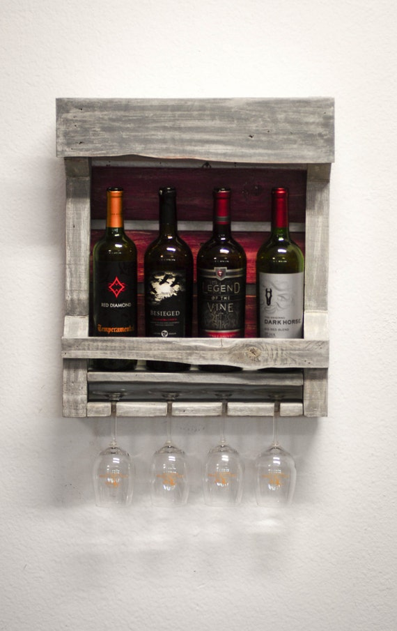 Wall Wine Rack Gray And Antique Red From By Thewoodchopshoppe