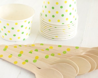 Green and Yellow Dot Ice Cream Social Kit- Set of 10 Ice Cream Cups and Wooden Spoons