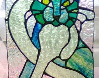 Celtic Cat Stained Glass Panel