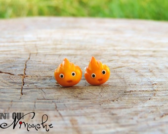 Calcifer (fimo) geek miyazaki manga ghibli Castle howl's moving Stud studs earrings