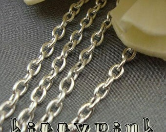 XX13- Silver Plated Trace Chain 3x2mm NICKEL FREE WHOLESALE Bulk