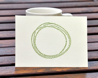 Olive Green Tiny Leaf Wreathe - Personalized
